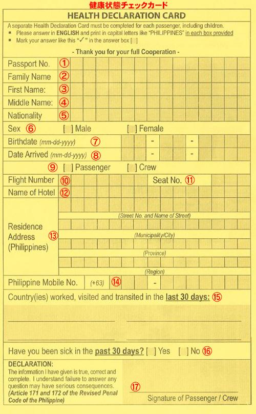 HEALTH DECLARATION CARD/健康状態チェックカード