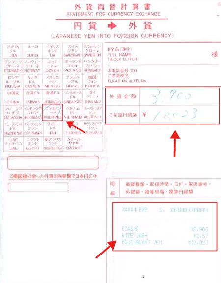 日本円から外貨両替